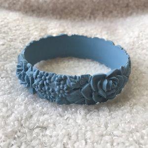 Obag Jewelry - Obag light blue floral rose silicone bracelet